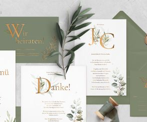 "Letterpress Hochzeitspapeterie ""Golden Leaves"""