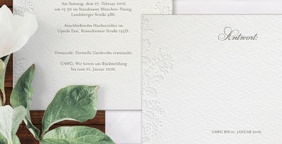 "Letterpress Hochzeitspapeterie ""Invisible Flowers"" Antwortkarte"