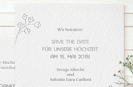 "Letterpress Hochzeitspapeterie ""Lovely flowers"" Save-the-date Karte"