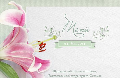 "Letterpress Hochzeitspapeterie ""The Secret Garden"" Menuekarte"